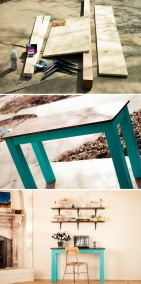 Super easy console table/office desk, I might need one of these...