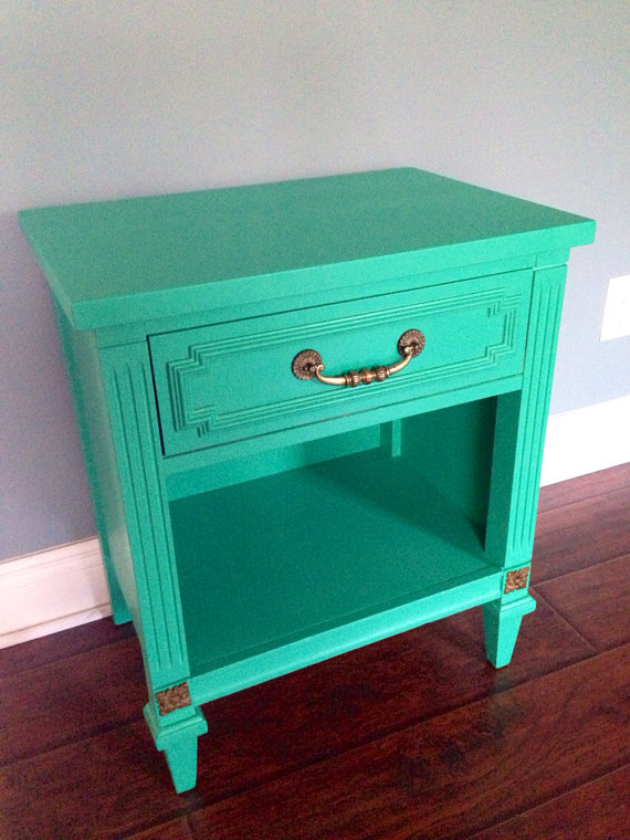I love the color on this nightstand.