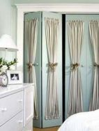 I've thought about doing this with my closet doors, it adds character to boring doors.