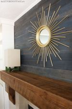 I like the gold against the dark gray/blue reclaimed wood.