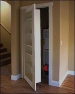 This is a genius idea! shelves that double as a door!