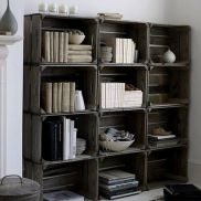 Crates that are stained and bolted together to make a bookcase! No WAy!