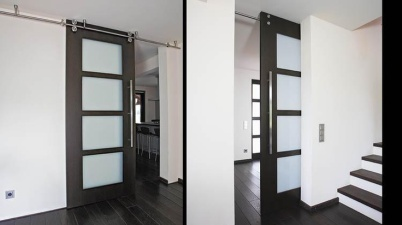 barn/pocket door, super functional and can be moved out of the way.
