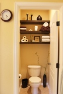 This is such an easy project, all you need is some wood to make shelves and stain them. So pretty and easy.