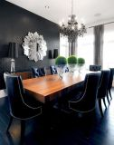 Bold and dramatic, but not too much. Also, love the subtle stenciled wall and the mirror.