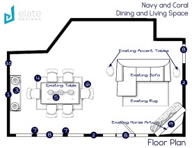 Navy and Coral Dining and Living Space Floorplan