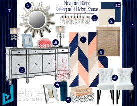 Navy and Coral Dining and Living Space Inspriation Board_Numbers