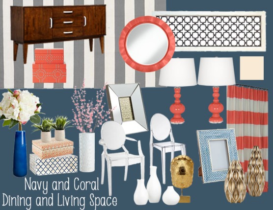 Navy and Coral Dining and Living Space