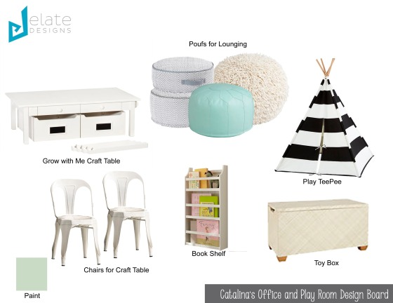 Catalina's Office and Playroom Design Board