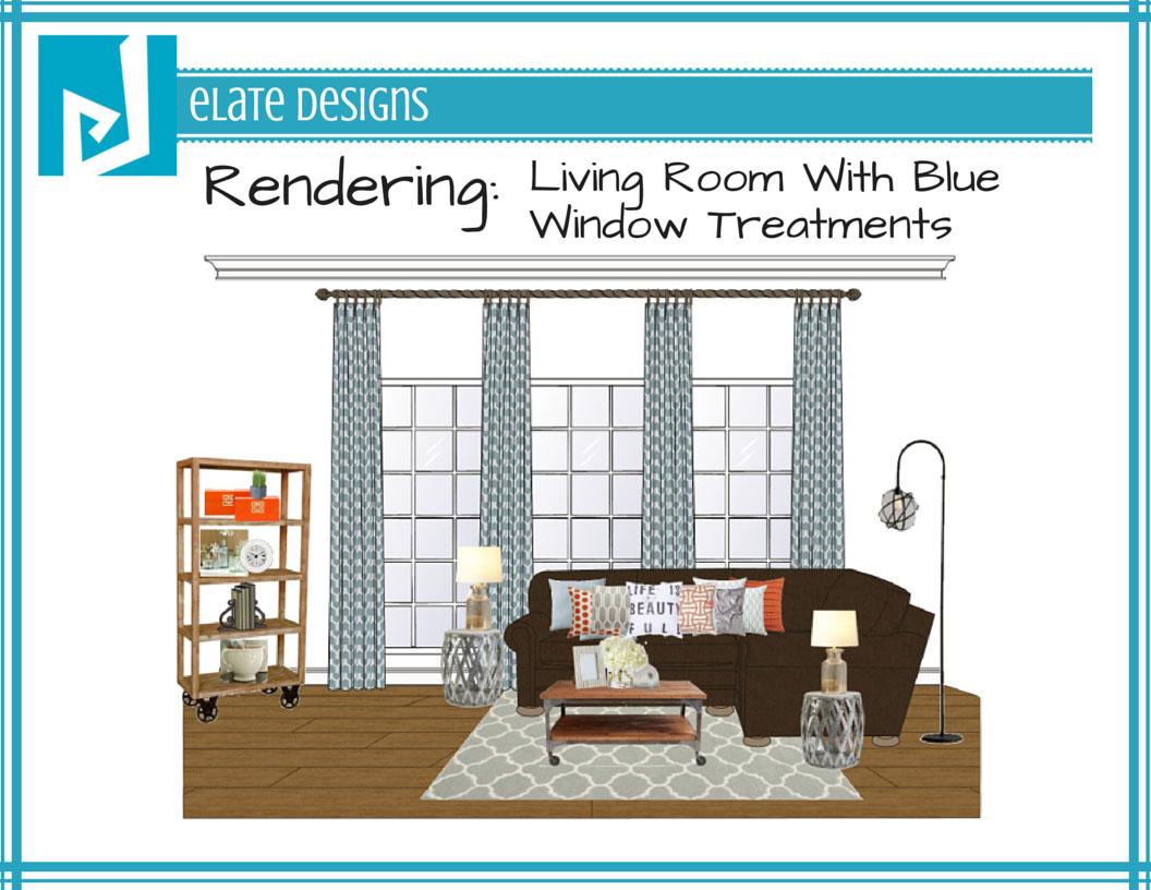 Living room rendering with blue window treatments purelygenuine