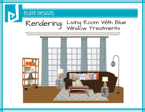 Ashley Hutchinson living room rendering with blue window treatments