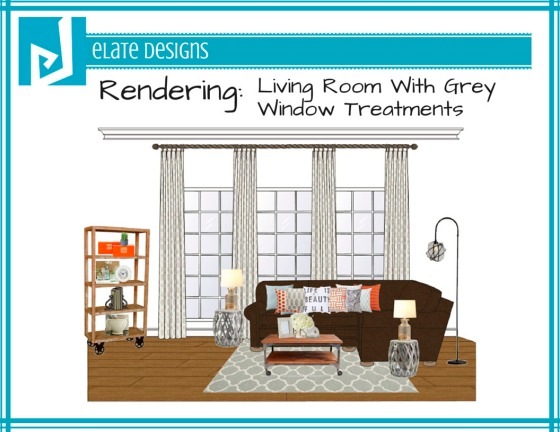 Ashley Hutchinson living room rendering with grey window treatments