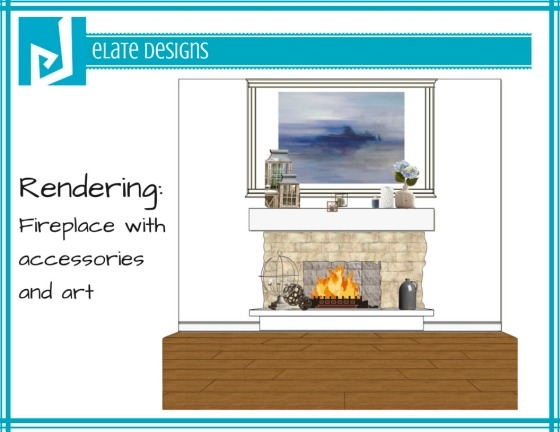 Ashley Hutchinson rendering of fireplace accessories and art