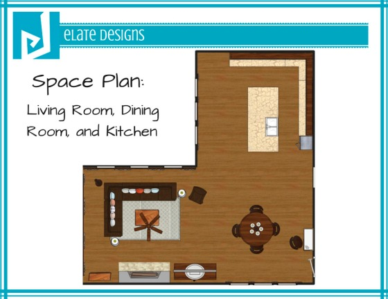 Ashley Hutchinson space plan living room dining room and kitchen