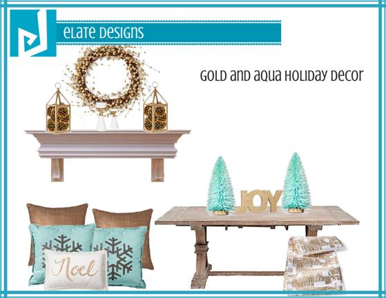 Gold and Aqua Holiday Decor