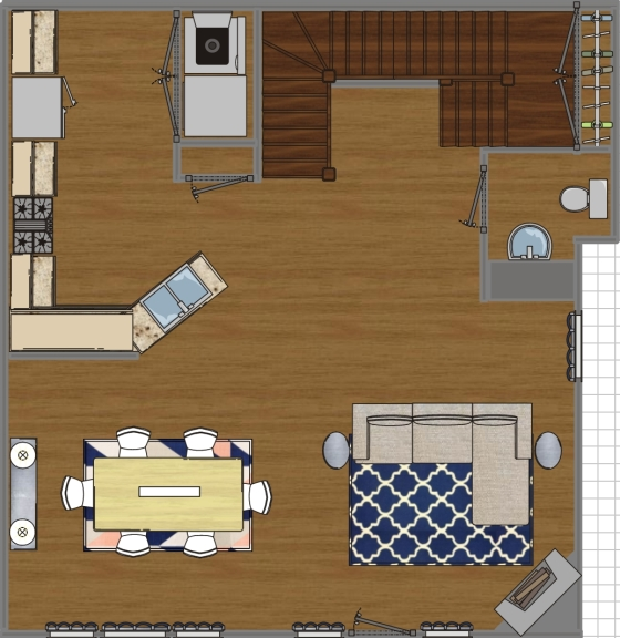 Jennifer Blacker Dining and Living Room Space Plan